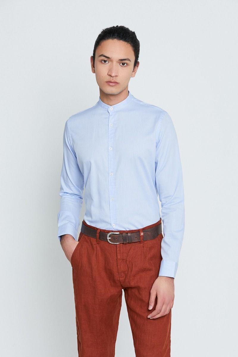 Camicia pied-de-poule collo coreana