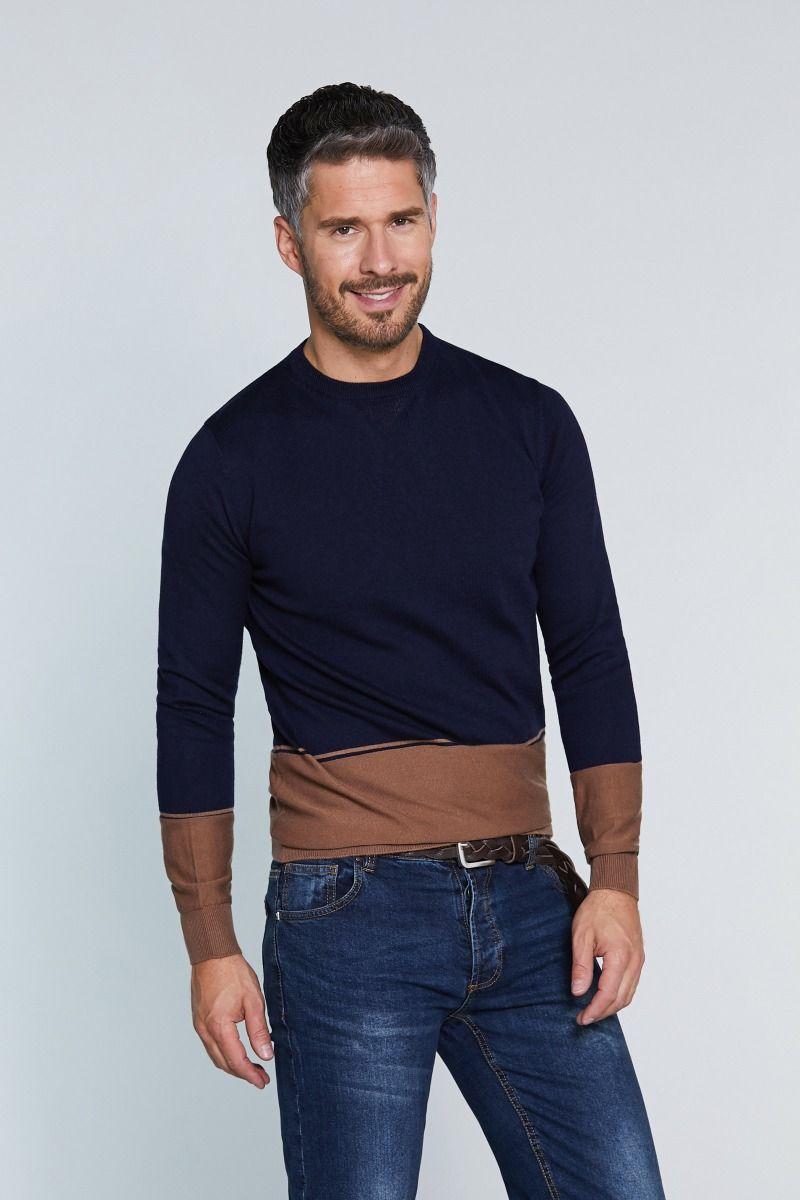 Maglia misto lana merinos girocollo con fascia inferiore e manica a contrasto
