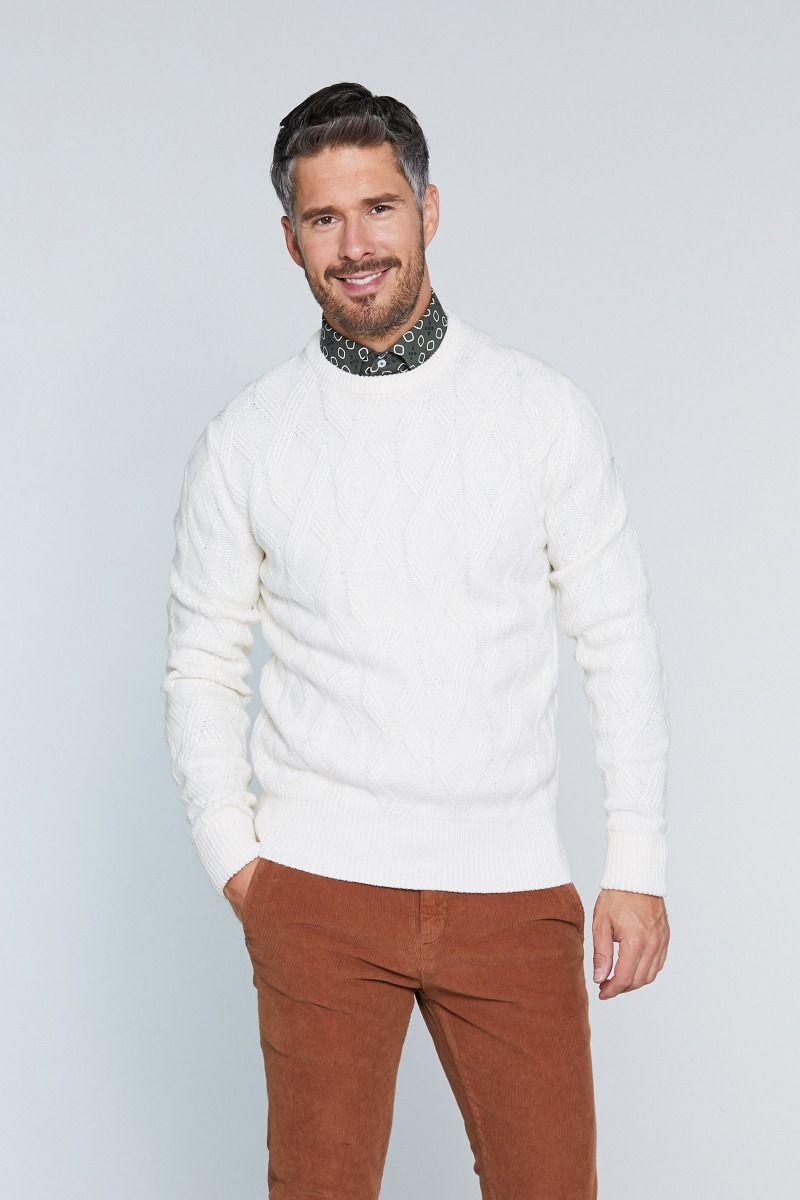 Maglione girocollo misto lana con trama a rombo tinta su tinta