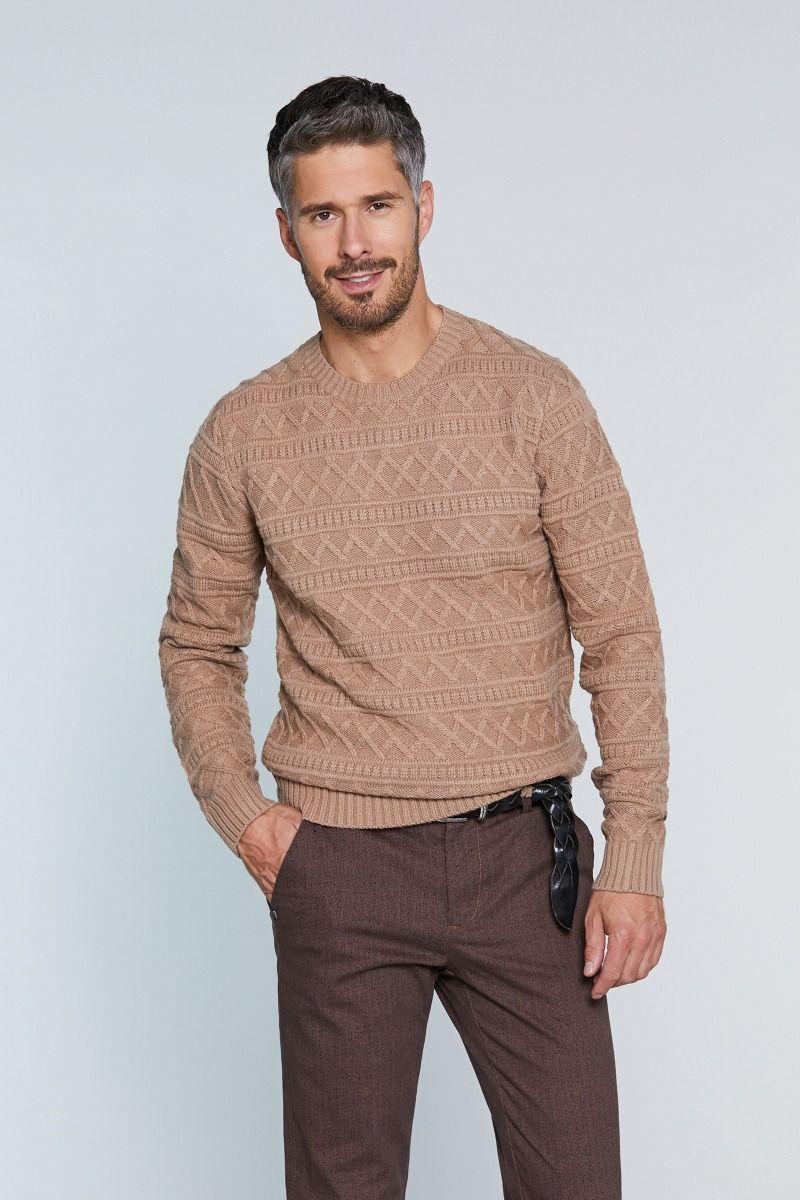 Maglione girocollo misto lana intarsio tinta su tinta