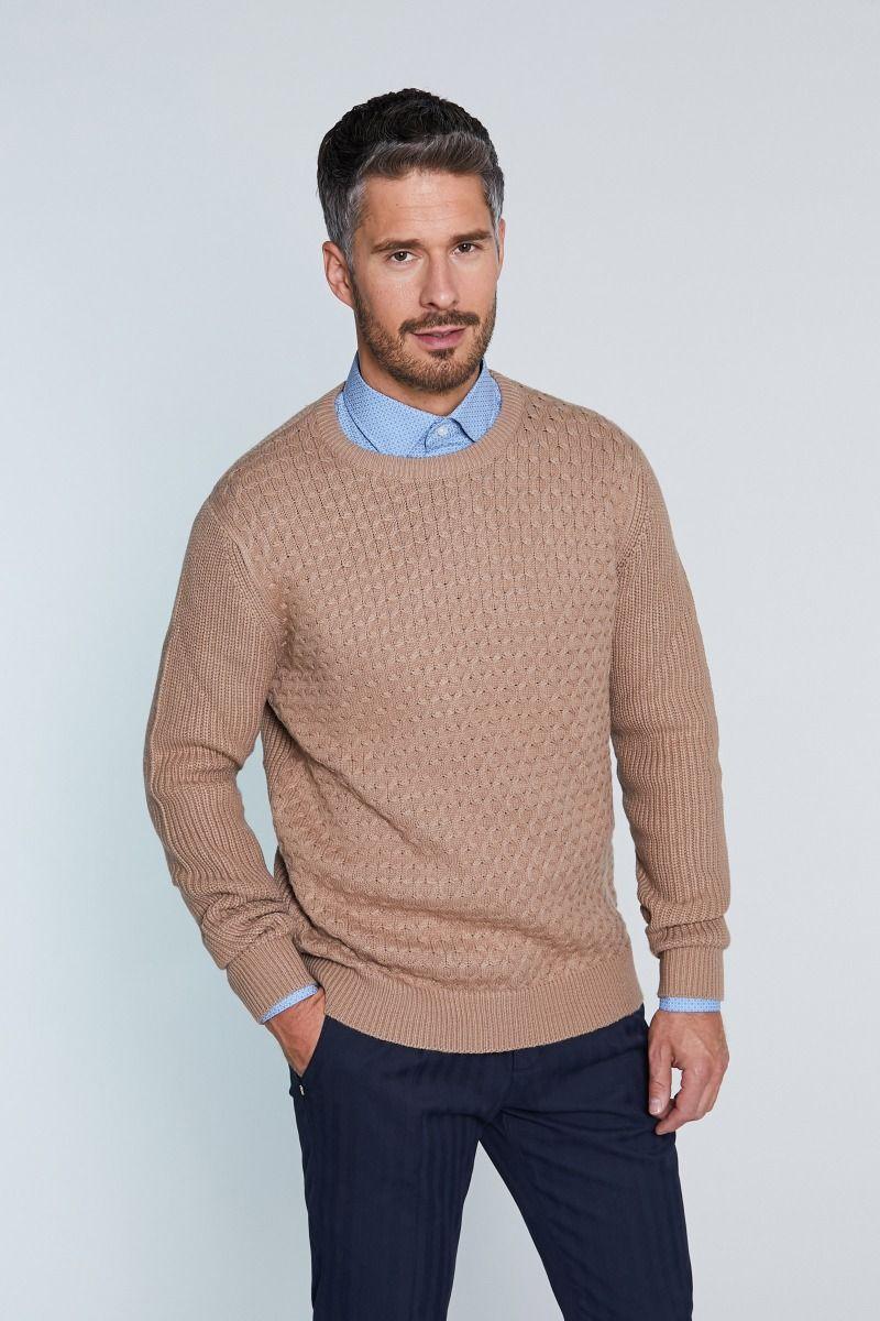 Maglione girocollo misto lana con ricamo canestrello