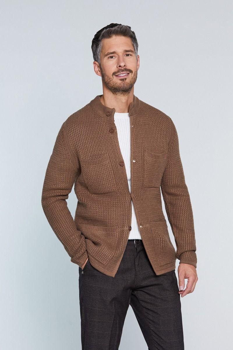 Maglione sahariana misto lana con trama ad intreccio e chiusura a bottoni