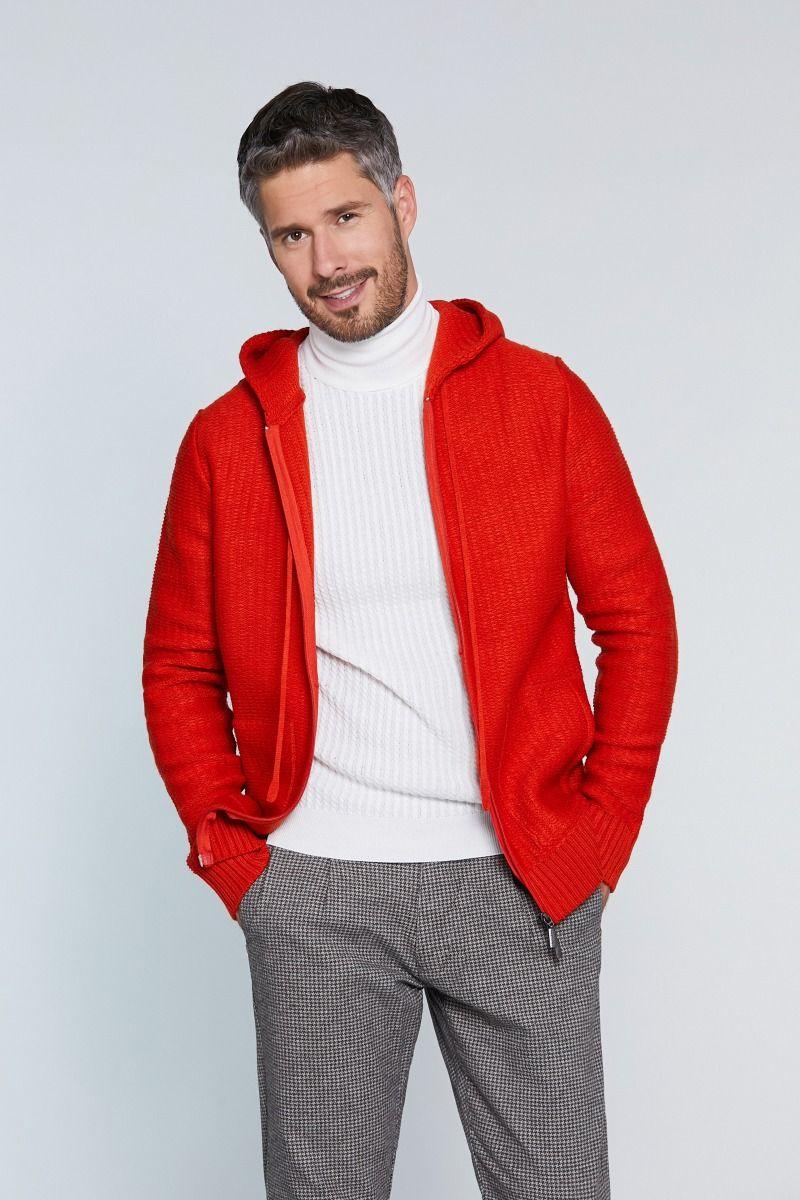 Maglione misto lana con zip e cappuccio con trama tinta su tinta