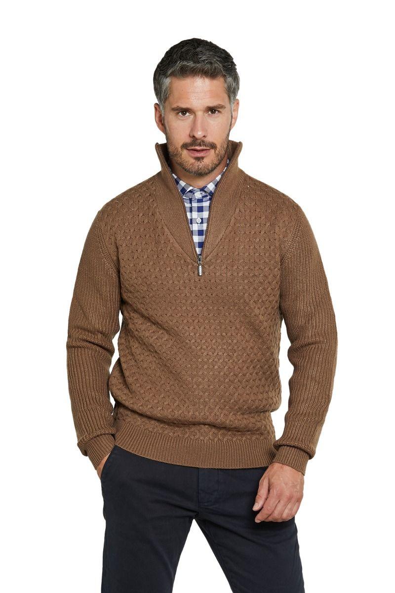 Maglione in misto lana mezzo collo con zip trama tinta su tinta