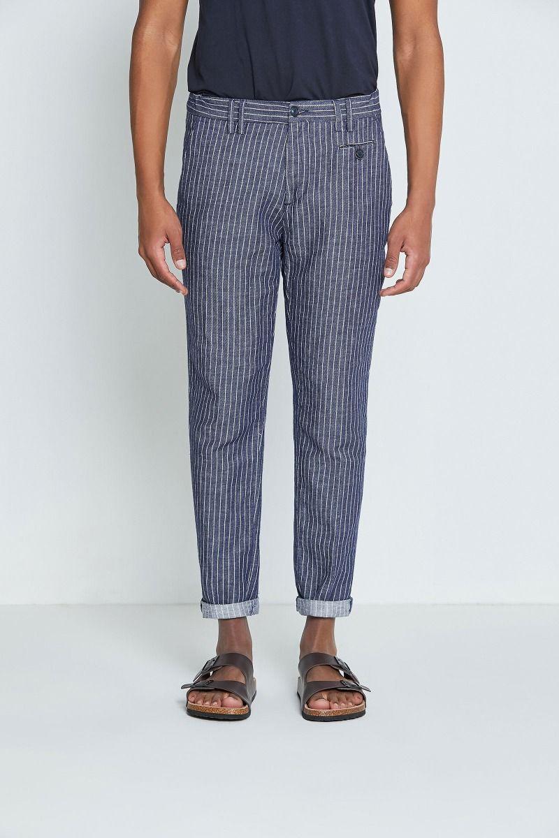 Pantalone righe lino e cotone