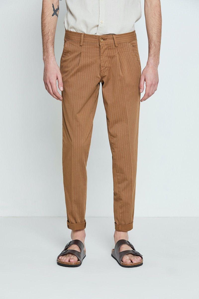 Pantalone righe cotone stampato