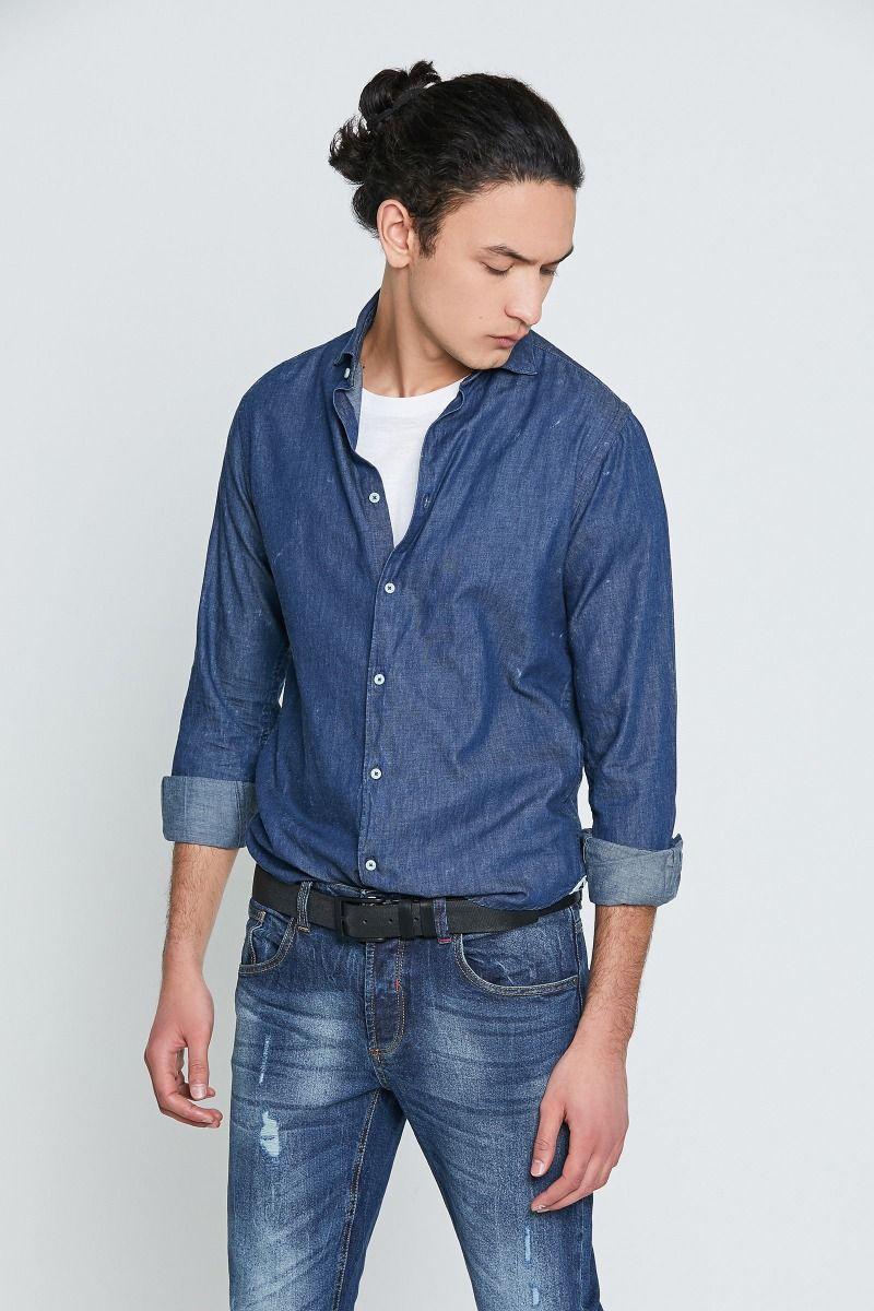 Camicia collo mezzo francese Denim blu acid wash