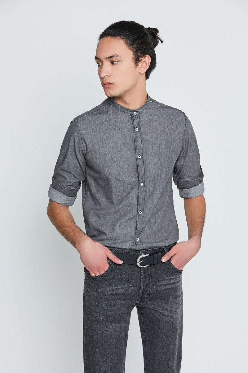 Camicia collo coreana jeans grigio