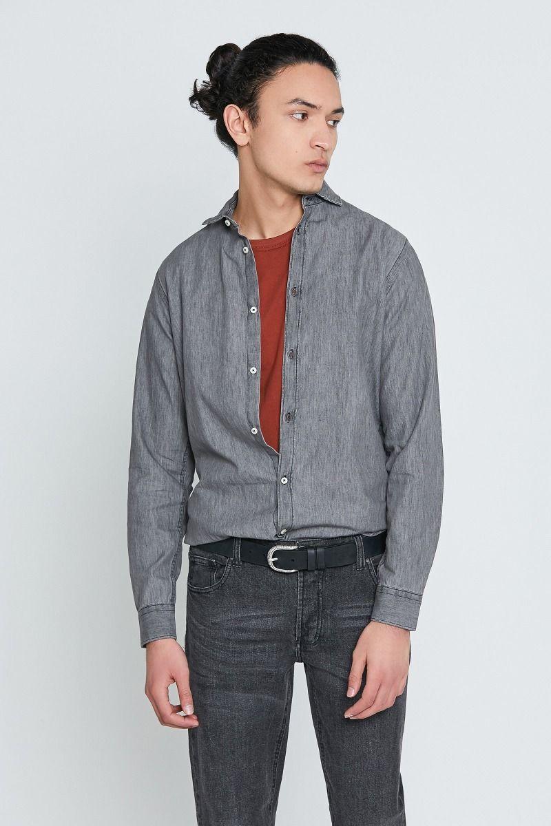 Camicia mezzo collo francese jeans grigio