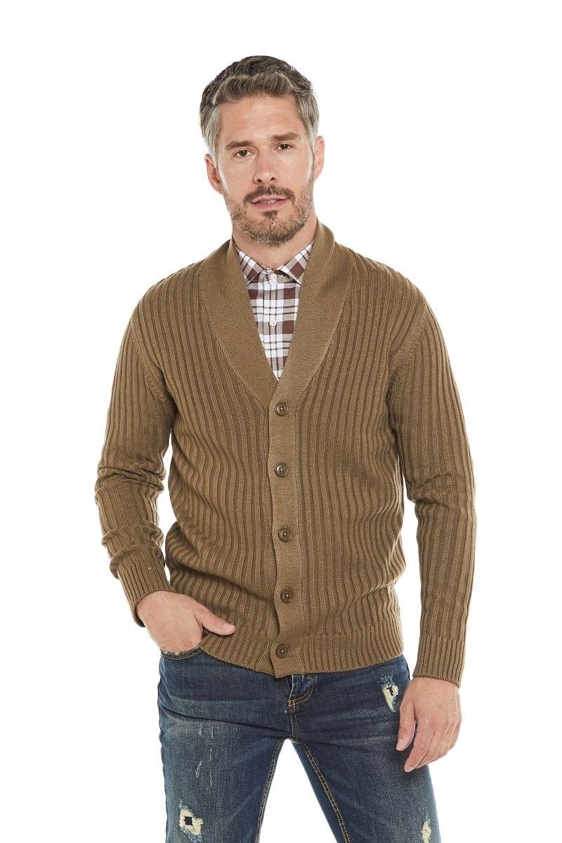 Maglione in misto lana merinos con bottoni e collo sciallato