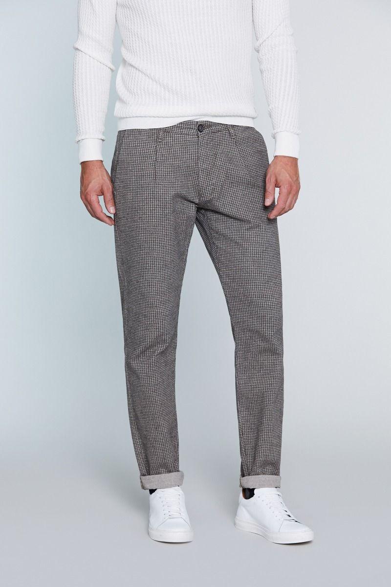 Pantalone tasca America con microfantasia