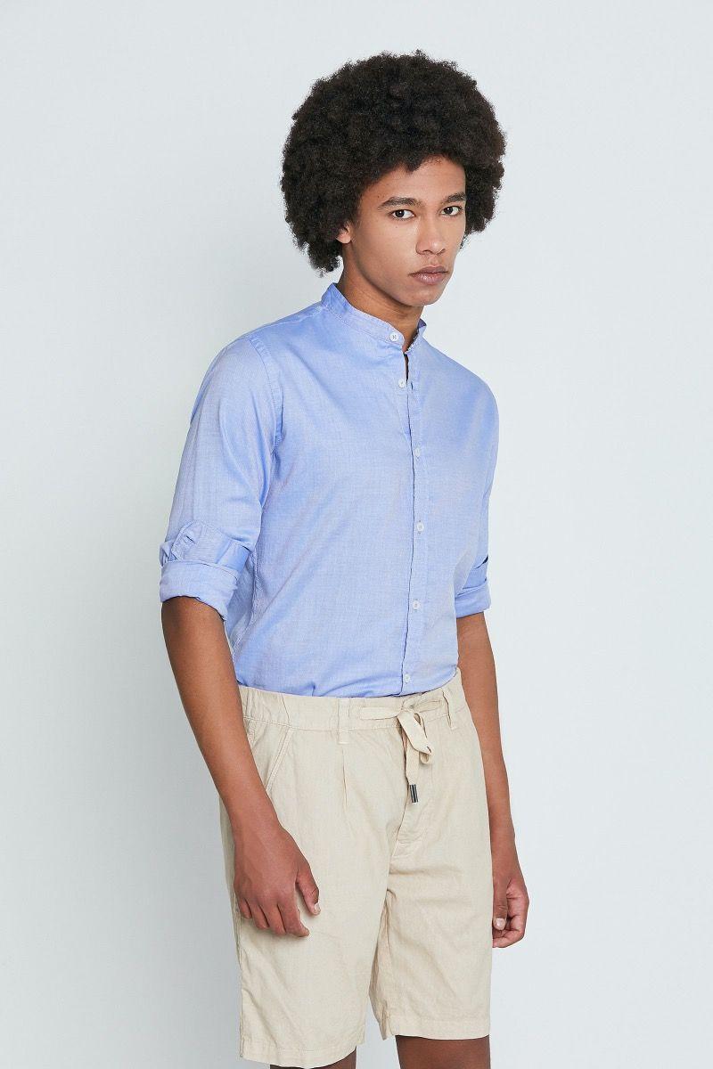 Camicia oxford collo coreana azzurra