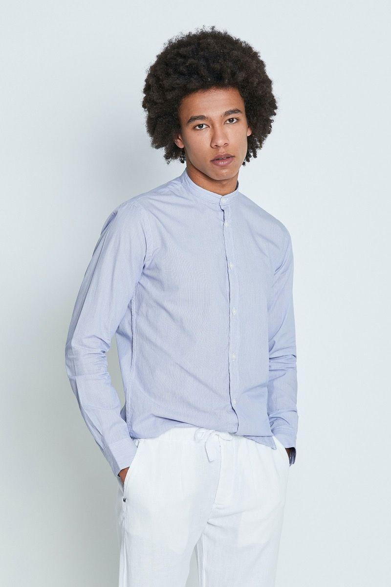 Camicia collo coreana mille righe filato Compact bianco e celeste
