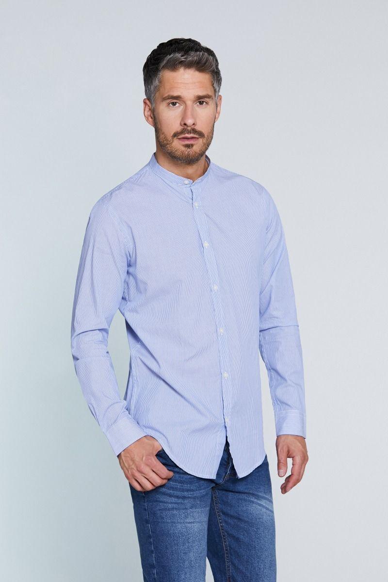 Camicia coreana mille righe bianco celeste