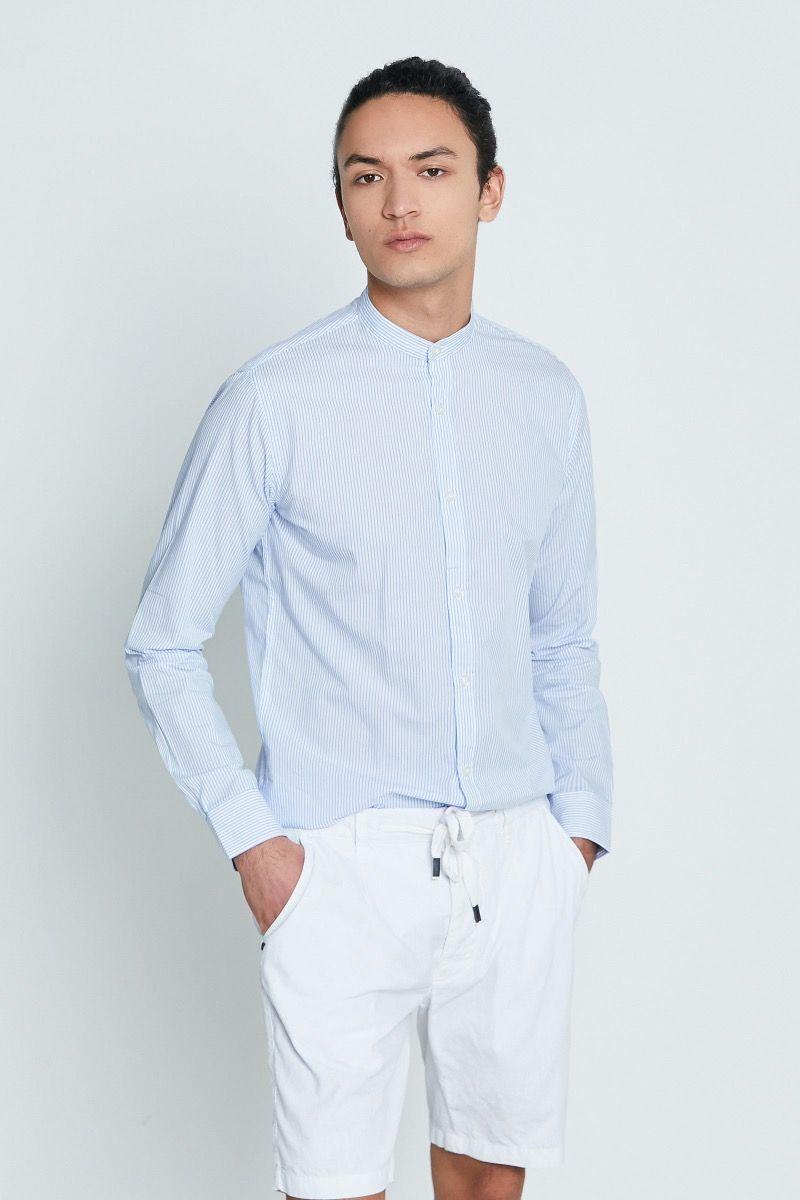 Camicia coreana mille righe bianco e celeste