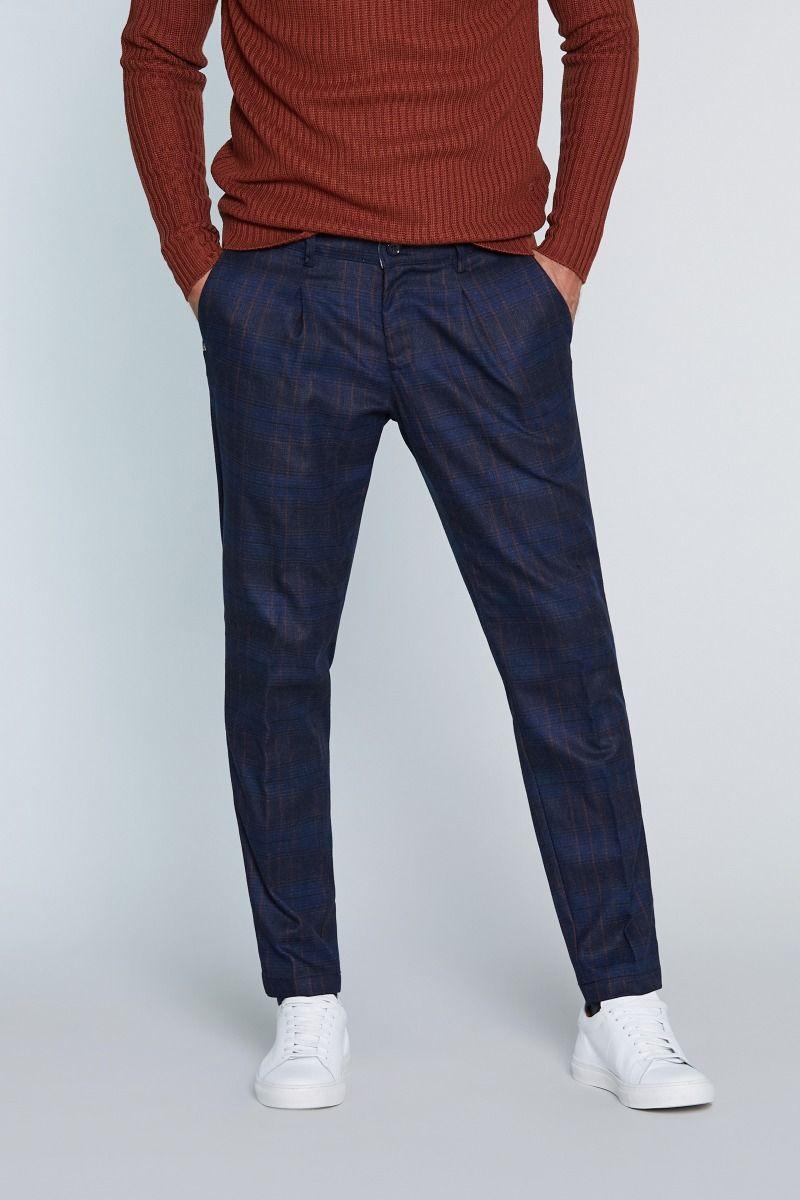 Pantalone tasca America in Caldo Cotone con Pences principe di Galles blu con rigo ruggine