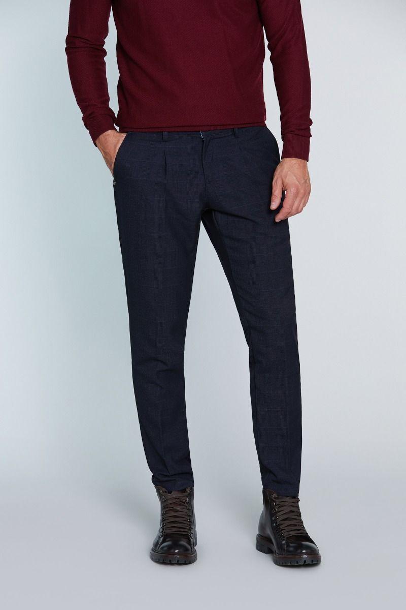 Pantalone tasca America con Pences Principe di Galles blu con rigo ruggine