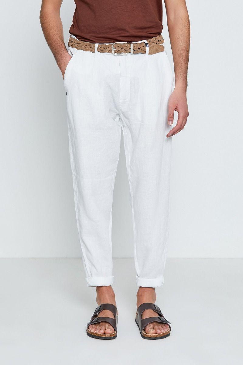 Pantalone puro lino con pences