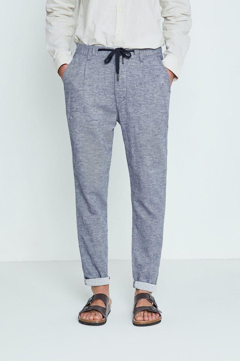 Pantalone lino e cotone con coulisse