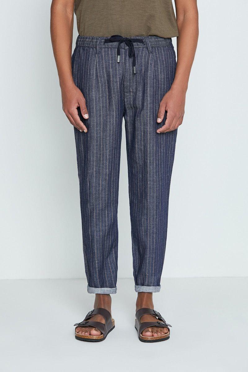 Pantaloni con fantasia blu