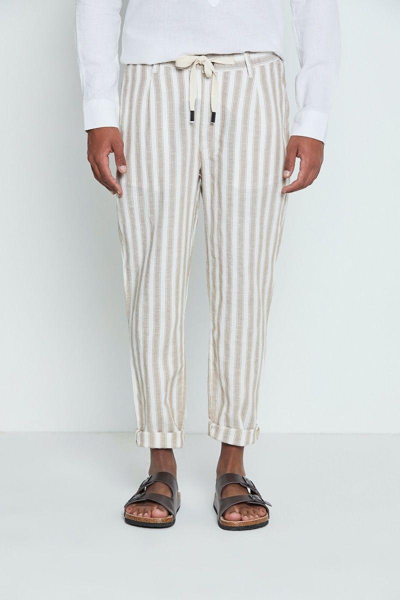 Pantalone in lino e cotone con coulisse