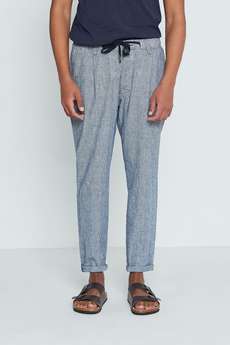 Pantalone lino e cotone Principe di Galles con coulisse