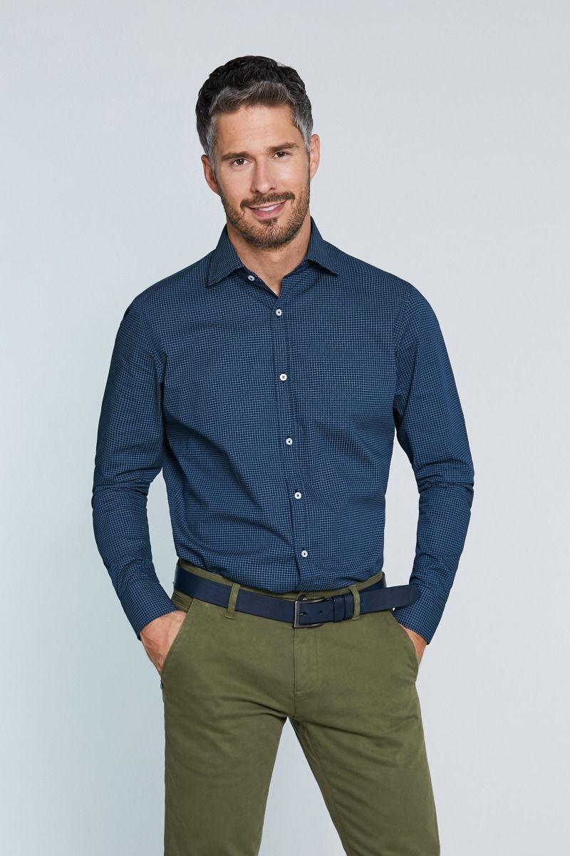 Camicia collo francese micro fantasia su fondo blu