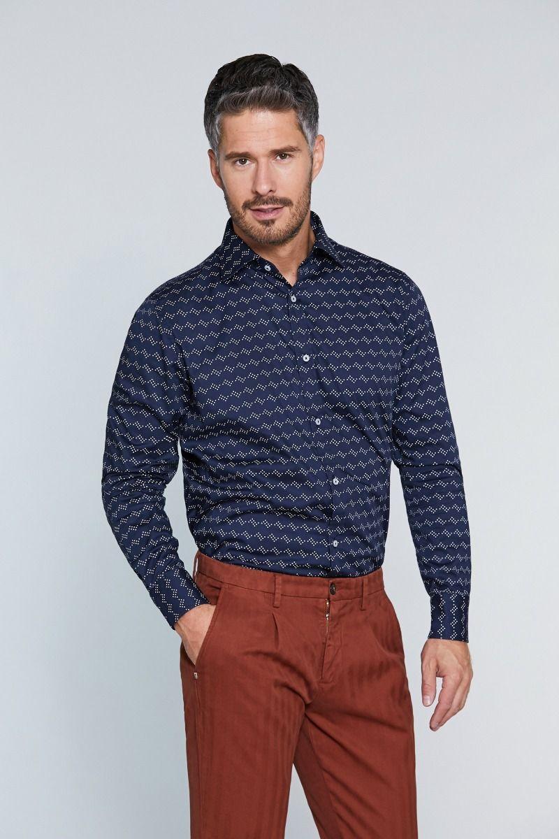 Camicia collo francese fantasia su fondo blu