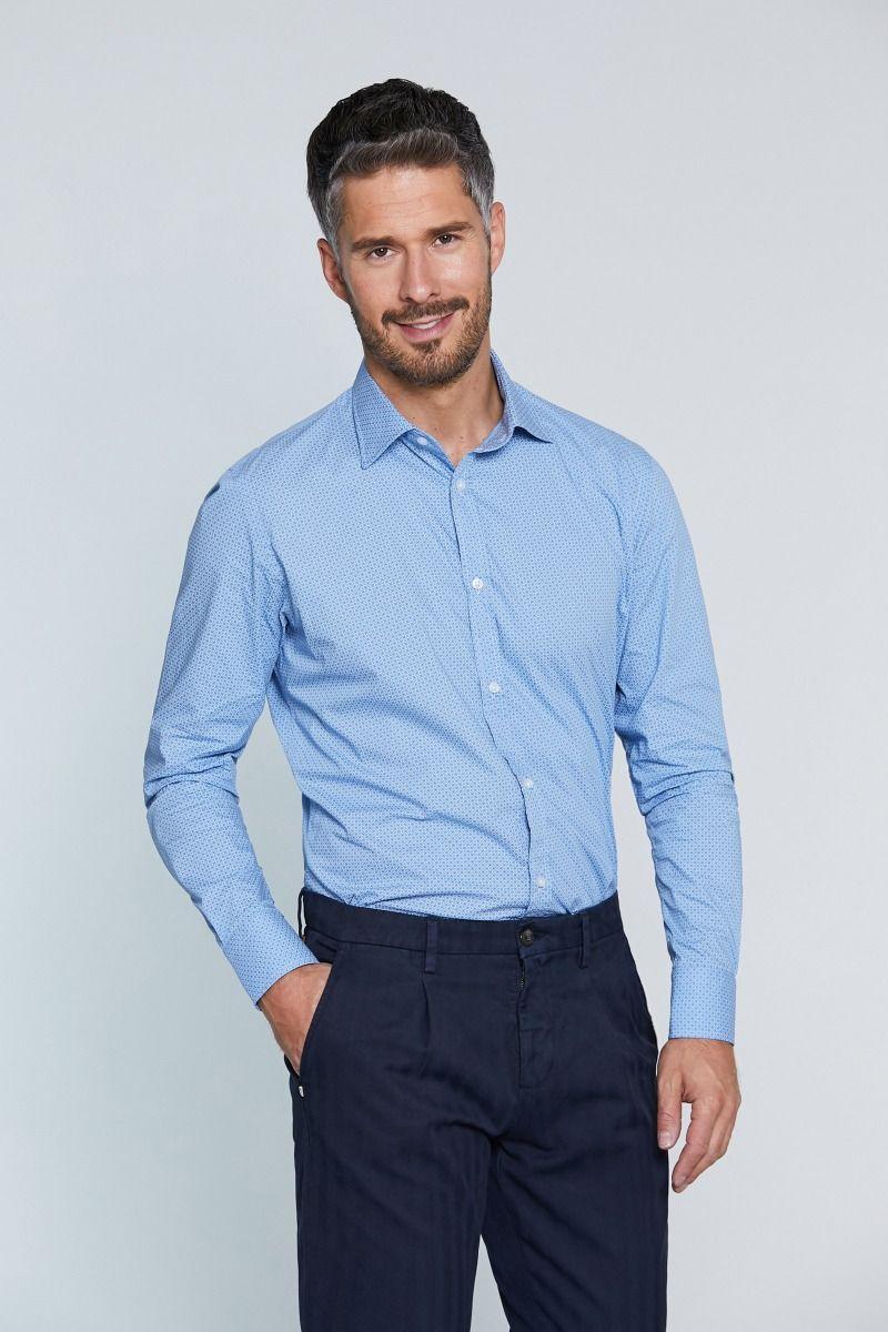 camicia celeste collo francese microfantasia