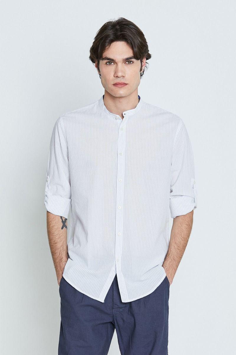 Camicia collo alla coreana righe beige o blu