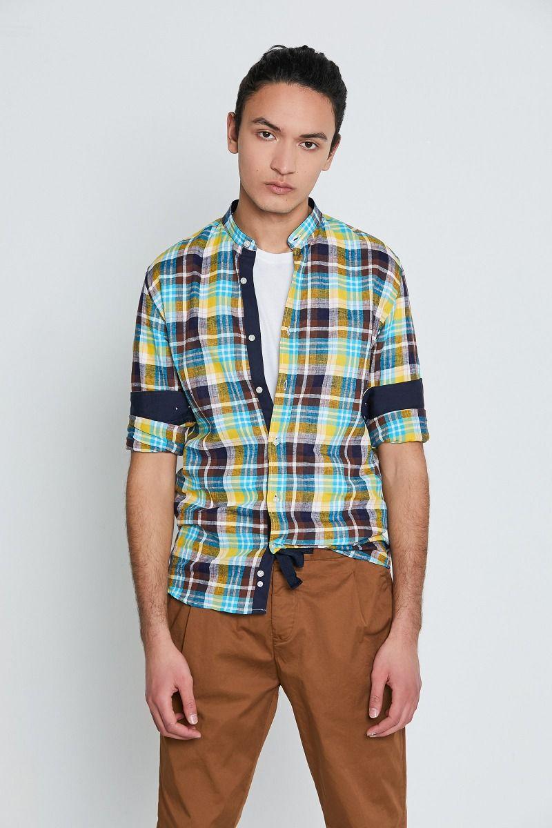 Camicia collo coreana lino e cotone check