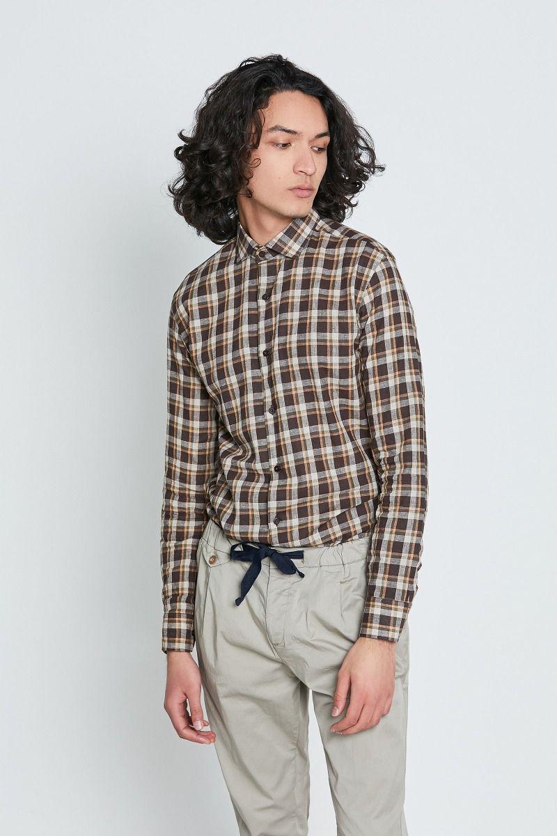 Camicia mezzo collo francese lino e cotone check