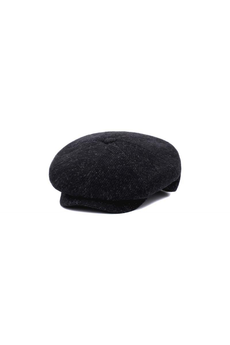 Coppola nera in lana con microfantasia